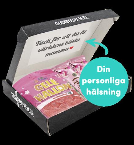 presentbox med morsdags hälsning på insidan av locket och godis i
