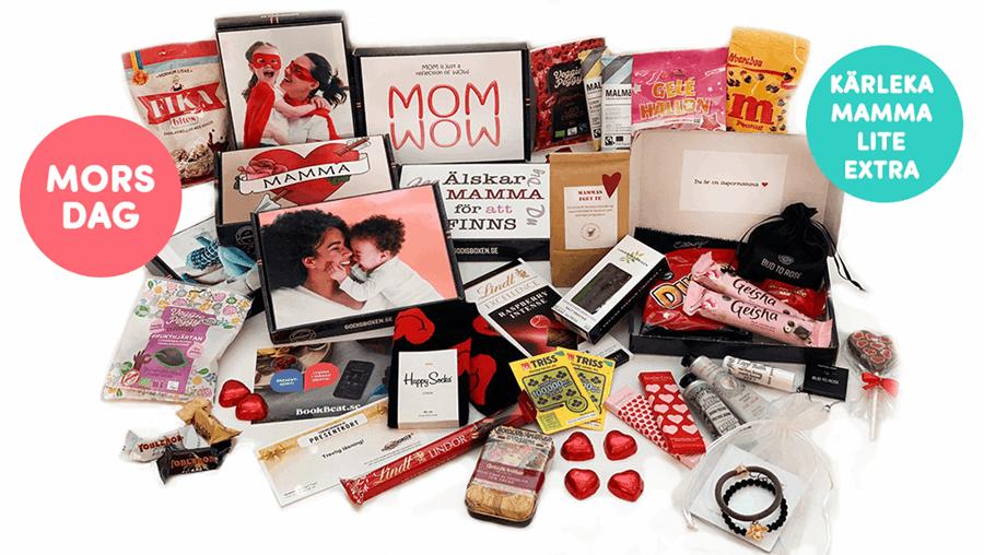 Kärleka mamma med en godisbox på Morsdag