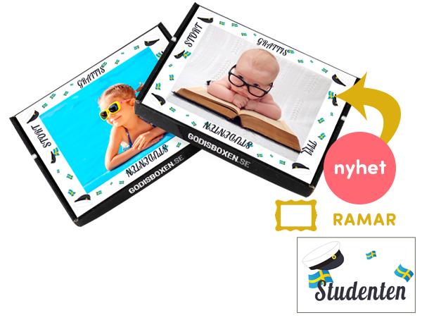 Egen bild/foto med student-ram som motiv på Godisbox