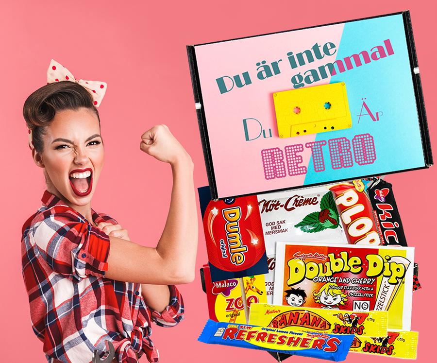 Födelsedagspresent med godis och annat roligt